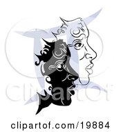 Clipart Illustration Of Two Twin Faces Over A Blue Gemini Astrological Sign Of The Zodiac
