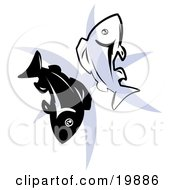 Clipart Illustration Of Two Fish Over A Blue Pisces Astrological Sign Of The Zodiac