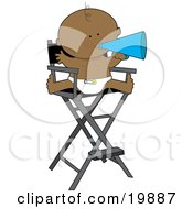 Cute African American Baby In A Diaper Seated In A Directors Chair And Shouting Through A Cone