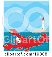 Cute Big Red Lobster Cartoon Character Swimming In The Sea Near A Lighthouse With Flying Seagulls
