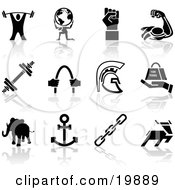 Clipart Illustration Of A Collection Of Black Silhouette Strengh Icons Of A Weigh Tlifter Man Holding Globe Muscles Weights Helmet Elephant Anchor Deer And Links by AtStockIllustration