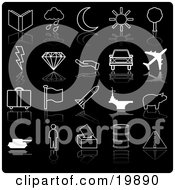 Clipart Illustration Of A Collection Of Black And White Icons Of A Book Rain Cloud Crescent Moon Sunshine Tree Lightning Bolt Diamond Hand Car Airplane Luggage Flag Rocket Aircraft Carrier Person And Roadway On A Black Background