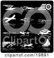 Clipart Illustration Of A Collection Of White Silhouette Speed Icons Of An Envelope With Wings Race Car With Flames Race Car Tire Bird Jet Super Man Rocket Lightning Rabbit Runner Cheetah And Sailboat Over A Black Background
