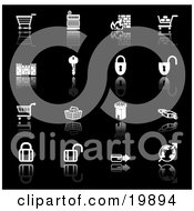 Clipart Illustration Of A Collection Of Black And White Secure Checkout Icons Of Shopping Carts Cash Register Fire Key Castle Padlocks Tower Globe And Credit Card On A Black Background by AtStockIllustration