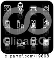 Clipart Illustration Of A Collection Of Black And White Gadget Icons Of A Camera Robot Controller Cell Phones Memory Cards Computer Mouse Mp3 Player And Video Camera On A Black Background by AtStockIllustration
