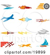 Clipart Illustration Of A Collection Of Colorful Speed Icons Of A Winged Envelope Flaming Race Car Tire Blue Dove Flying Jet Super Hero Rocket Lightning Bolt Rabbit Runner Cheetah And Sailboat Over A White Background