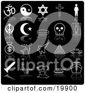 Clipart Illustration Of A Collection Of Black And White Icons Of Religious Symbols Ying Yang Cross Person Crescent Moon Skull Prison Moneybags Airplanes Train Tracks Car Pig Tanker And Ship On A Black Background