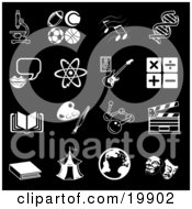 Clipart Illustration Of A Collection Of Black And White School Subject Icons Of A Microscope Football Soccer Ball Basketball Tennis Ball Music Notes Dna Messenger Atom Guitar Multiply Divide Addition Subtraction Book Paintbrush And Palette