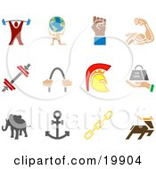 Clipart Illustration Of A Collection Of Colorful Strengh Icons Of A Weightlifter Man Carrying A Globe Fist Muscles Weights Helmet Elephant Anchor Links And Deer Over A White Background