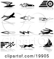 Clipart Illustration Of A Collection Of Black Silhouetted Speed Icons Of A Flying Envelope Race Car Tire Bird Jet Super Hero Rocket Lightning Bolt Hare Sprinter Cheetah And Sail Boat Over A White Background by AtStockIllustration
