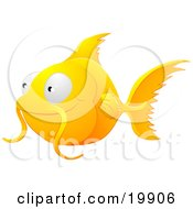 Clipart Illustration Of A Cute Orange Goldfish With Whiskers Smiling And Swimming by AtStockIllustration