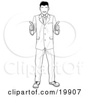 Clipart Illustration Of A Satisified Customer Or Boss Smiling And Giving Two Thumbs Up by AtStockIllustration