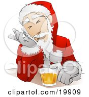 Santa Claus In His Uniform And Hat Giggling While Drinking Beer At A Bar