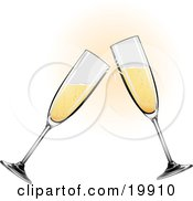 Clipart Illustration Of Two Glass Champagne Glasses Toasting On