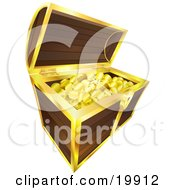 Clipart Illustration Of Golden Coins Pirates Booty Sparkling In A Wooden Treasure Chest With Golden Trim Isolated On A White Background by AtStockIllustration