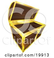 Clipart Illustration Of An Open And Empty Wooden Treasure Chest With Gold Trim by AtStockIllustration