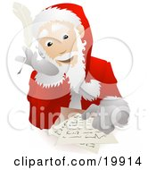 Santa Claus In His Uniform And Hat Seated At A Table And Replying To Dear Santa Letters Before Christmas