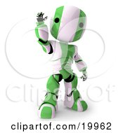 Friendly Green And White AO Maru Humanoid Robot Standing And Waving Over A White Background by Leo Blanchette
