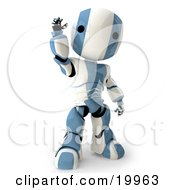 Clipart Illustration Of A Friendly Blue And White AO Maru Humanoid Robot Standing And Waving Over A White Background by Leo Blanchette