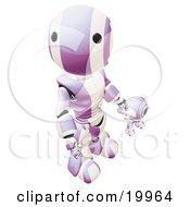 Humanoid Purple And White Ao-Maru Robot Looking Upwards While Holding Hands And Walking With A Small Webcam Spybot On A White Background