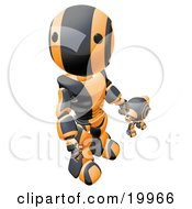 Humanoid Black And Orange Ao Maru Robot Looking Upwards While Holding Hands And Walking With A Small Webcam Spybot On A White Background by Leo Blanchette