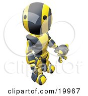 Humanoid Black And Yellow Ao Maru Robot Looking Upwards While Holding Hands And Walking With A Small Webcam Spybot On A White Background by Leo Blanchette
