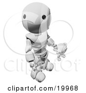 Humanoid Chrome Ao Maru Robot Looking Upwards While Holding Hands And Walking With A Small Webcam Spybot On A White Background by Leo Blanchette