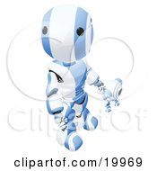 Humanoid Blue And White Ao Maru Robot Looking Upwards While Holding Hands And Walking With A Small Webcam Spybot On A White Background by Leo Blanchette