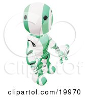 Humanoid Green And White Ao Maru Robot Looking Upwards While Holding Hands And Walking With A Small Webcam Spybot On A White Background by Leo Blanchette