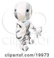 Humanoid Metallic And White Ao Maru Robot Looking Upwards While Holding Hands And Walking With A Small Webcam Spybot On A White Background by Leo Blanchette