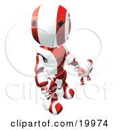 Humanoid Red And White Ao-Maru Robot Looking Upwards While Holding Hands And Walking With A Small Webcam Spybot On A White Background