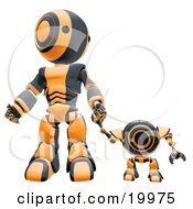 Black And Orange Webcam Spybot And Humanoid Robot Holding Hands And Walking Forwards
