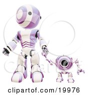 Clipart Illustration Of A Purple And White Webcam Spybot And Humanoid Robot Holding Hands And Walking Forwards
