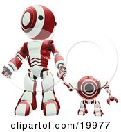 Maroon And White Webcam Spybot And Humanoid Robot Holding Hands And Walking Forwards
