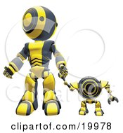 Black And Yellow Webcam Spybot And Humanoid Robot Holding Hands And Walking Forwards