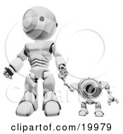 Silver Webcam Spybot And Humanoid Robot Holding Hands And Walking Forwards