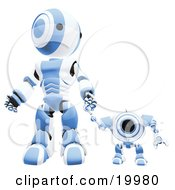 Blue And White Webcam Spybot And Humanoid Robot Holding Hands And Walking Forwards