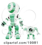 Clipart Illustration Of A Green And White Webcam Spybot And Humanoid Robot Holding Hands And Walking Forwards by Leo Blanchette