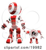 Red And White Webcam Spybot And Humanoid Robot Holding Hands And Walking Forwards