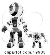 Black And White Webcam Spybot And Humanoid Robot Holding Hands And Walking Forwards