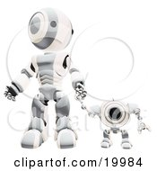 Clipart Illustration Of A Chrome And White Webcam Spybot And Humanoid Robot Holding Hands And Walking Forwards