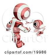 Clipart Illustration Of A Short Maroon And White Spybot Webcam Looking Up And Talking With A Humanoid Robot On A White Background