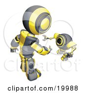 Clipart Illustration Of A Short Black And Yellow Spybot Webcam Looking Up And Talking With A Humanoid Robot On A White Background