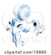 Clipart Illustration Of A Short Blue And White Spybot Webcam Looking Up And Talking With A Humanoid Robot On A White Background