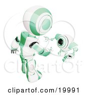 Clipart Illustration Of A Short Green And White Spybot Webcam Looking Up And Talking With A Humanoid Robot On A White Background