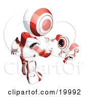 Clipart Illustration Of A Short Red And White Spybot Webcam Looking Up And Talking With A Humanoid Robot On A White Background