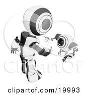 Clipart Illustration Of A Short Black And White Spybot Webcam Looking Up And Talking With A Humanoid Robot On A White Background