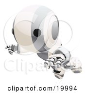 Clipart Illustration Of A Clumsy Silver And White Ao Maru Humanoid Robot Falling Face First To The Ground Over A White Background