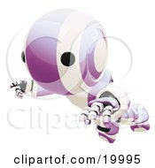 Clipart Illustration Of A Clumsy Purple And White Ao Maru Humanoid Robot Falling Face First To The Ground Over A White Background