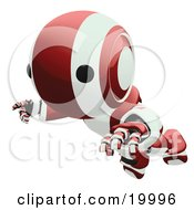 Clipart Illustration Of A Clumsy Maroon And White Ao Maru Humanoid Robot Falling Face First To The Ground Over A White Background